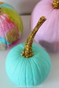 glittered stem pumpkin