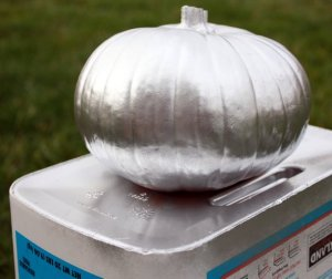 silver painted pumpkin