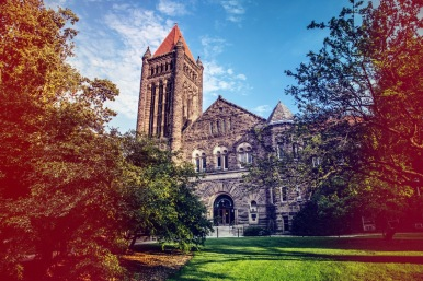 Altgeld Hall on a summer evening.