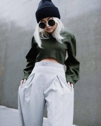 h3az2w-l-610x610-pants-green-tumblr-greypants-widelegpants-highwaistedpants-croptops-beanie-blackbeanie-sunglasses-roundsunglasses