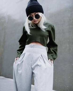 h3az2w-l-610x610-pants-green-tumblr-greypants-widelegpants-highwaistedpants-croptops-beanie-blackbeanie-sunglasses-roundsunglasses