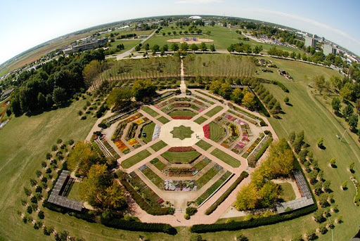 Aerial view of Hartley Selections Garden at UI Arboretum